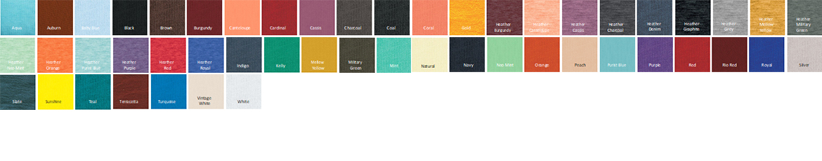 Tultex 202 Jersey Fine T-Shirt Color Options