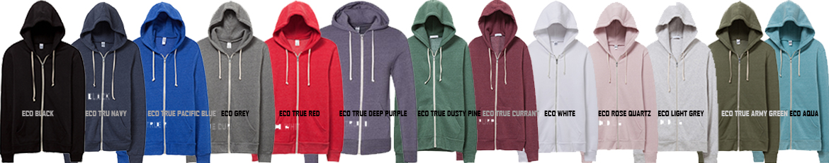 Rocky Eco-Fleece Ivy League Zip Hoodie Color Chart