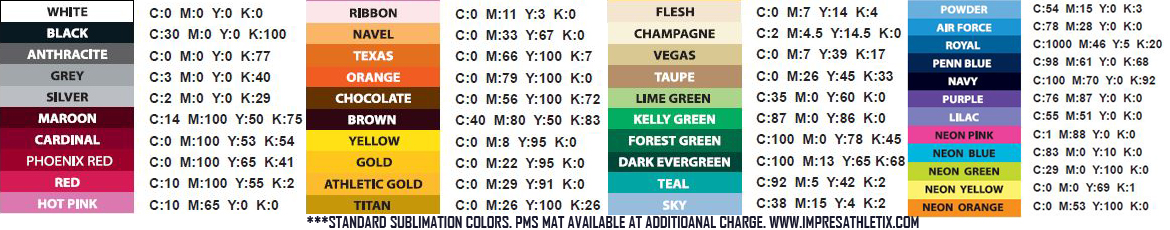 Impress Athletix Sublimation Standard Color Chart